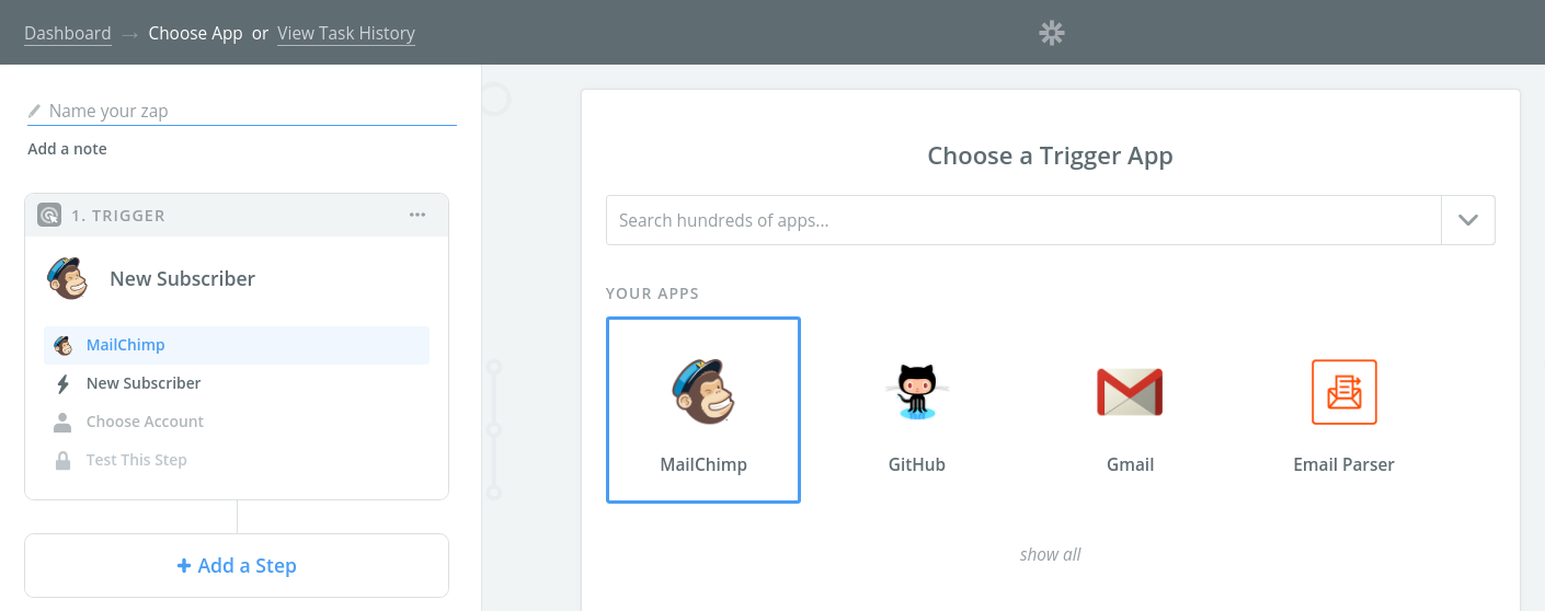 Select MailChimp as step 1 integration