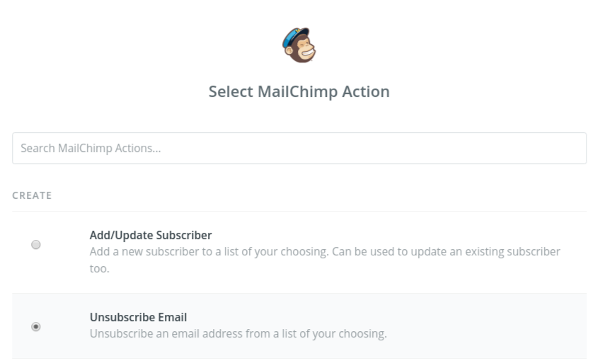 Choose Unsubscribe Email as the step 3 action